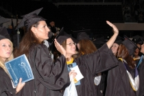 Graduates Wave to Family