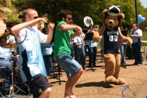 Students Dance with Big Blue